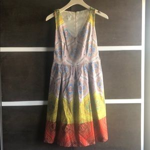 Multi colored fit and flare dress